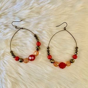 Red and brown Fashion hoop earrings